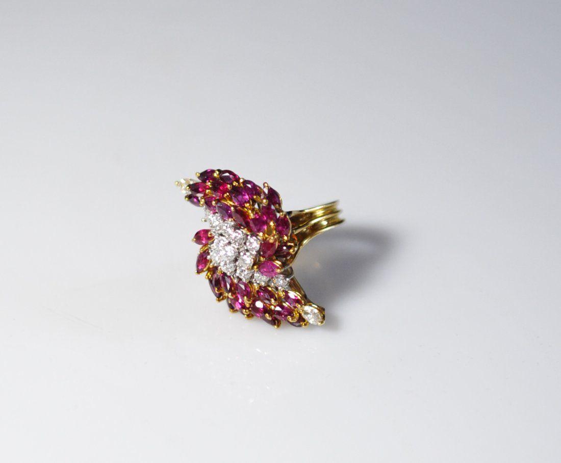 18K Gold Ruby & Diamond Ladies Ring