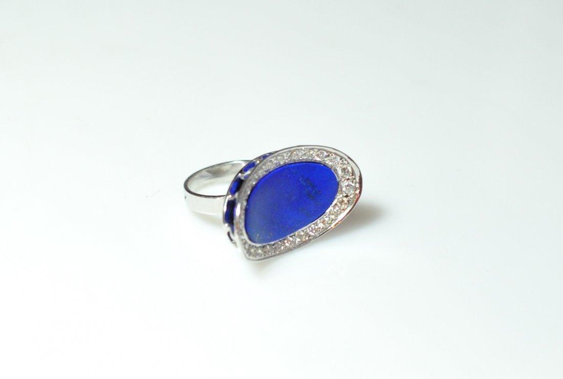 18K Gold Diamond & Lapis Ring