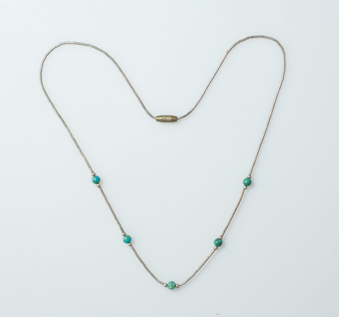 Navajo Style Silver & Turquoise Necklace