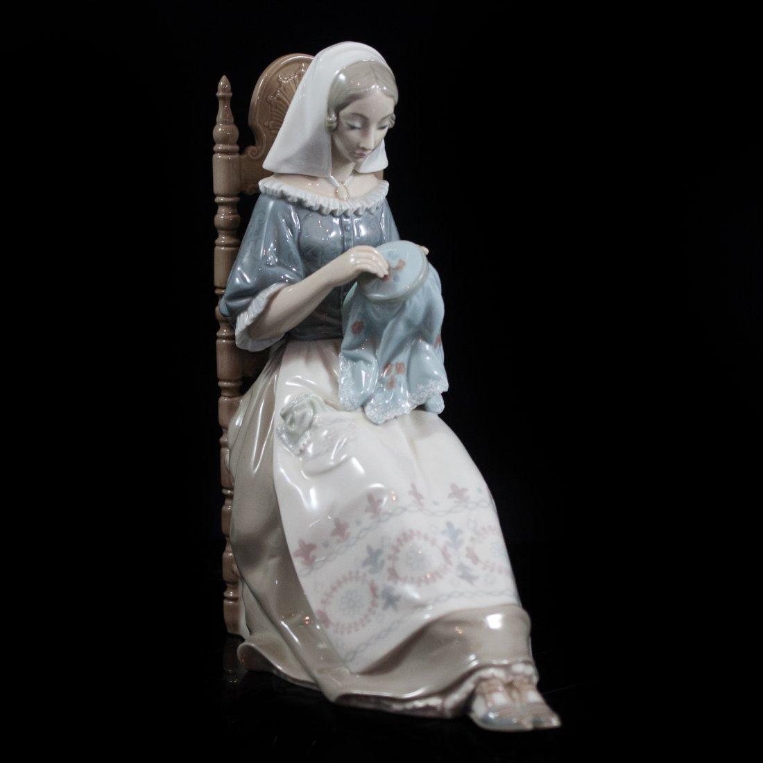 Lladro Porcelain Figurine of Woman Knitting