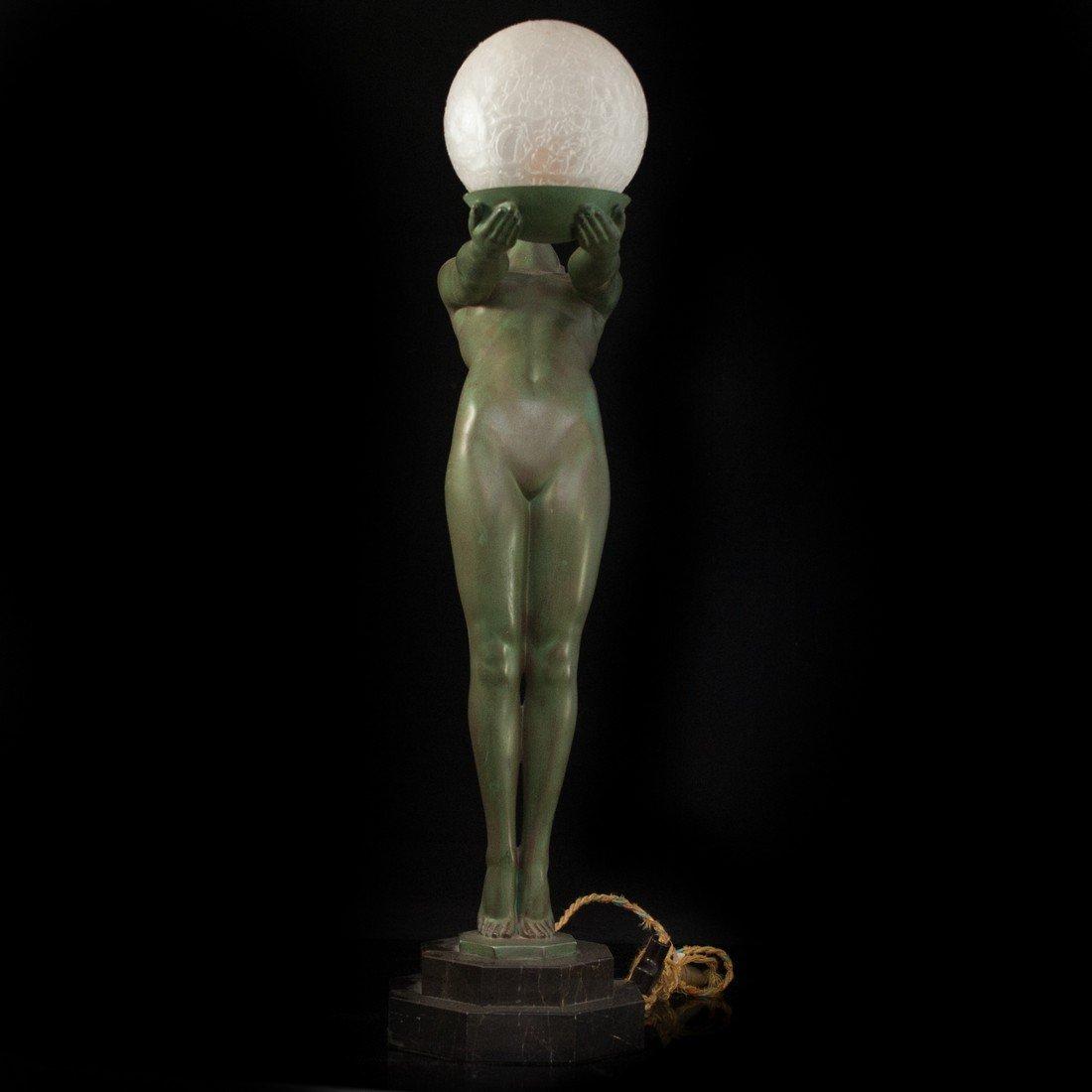 "Max Le Verrier (French 1891-1973 ) ""Clarte"" Bronze Lamp"
