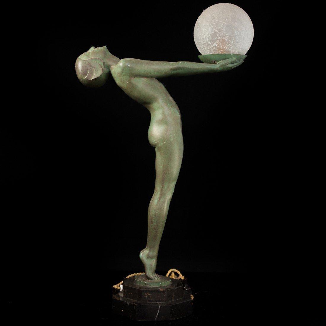 "Max Le Verrier (French 1891-1973 ) ""Clarte"" Bronze Lamp - 2"