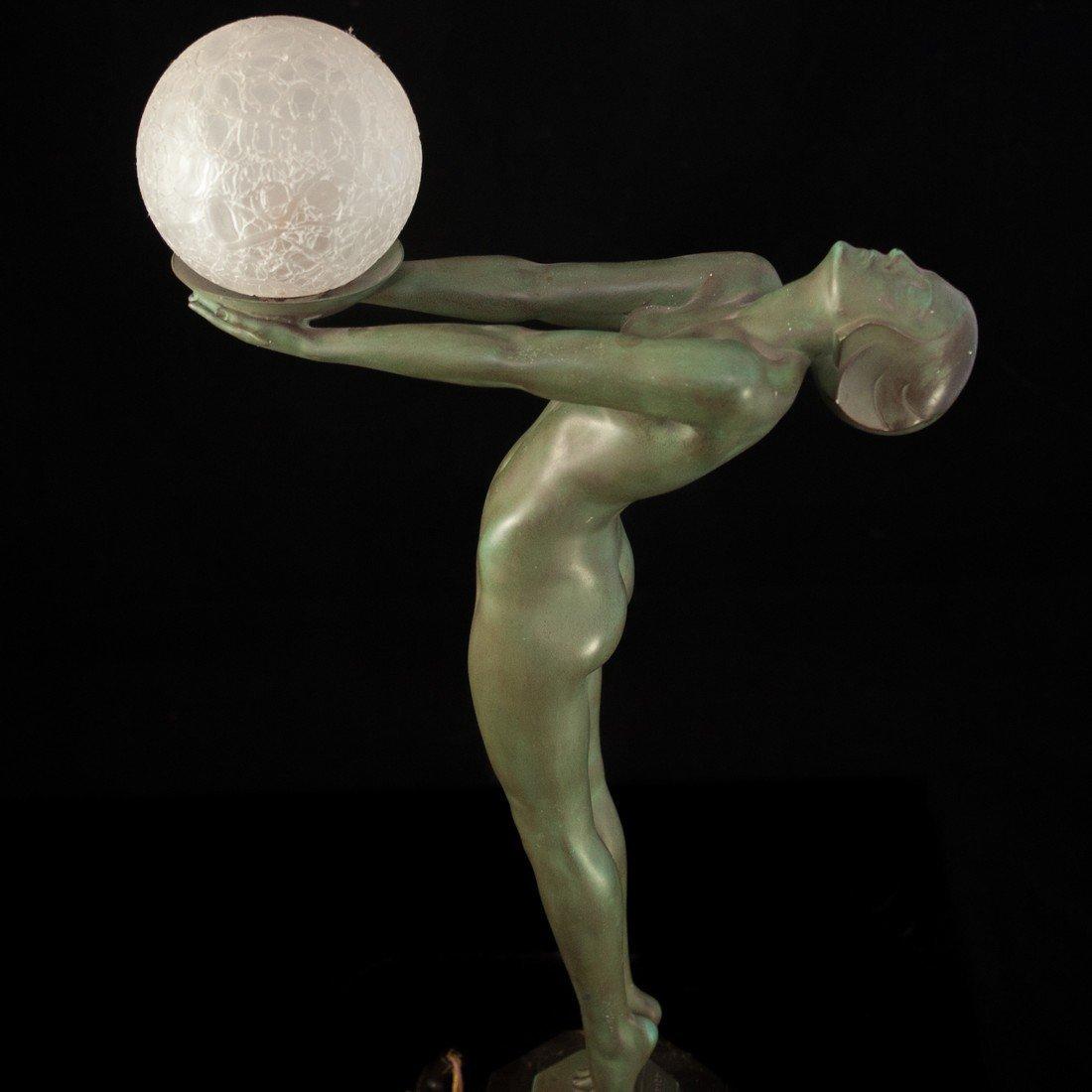 "Max Le Verrier (French 1891-1973 ) ""Clarte"" Bronze Lamp - 5"