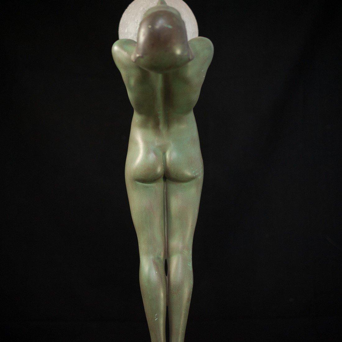 "Max Le Verrier (French 1891-1973 ) ""Clarte"" Bronze Lamp - 7"