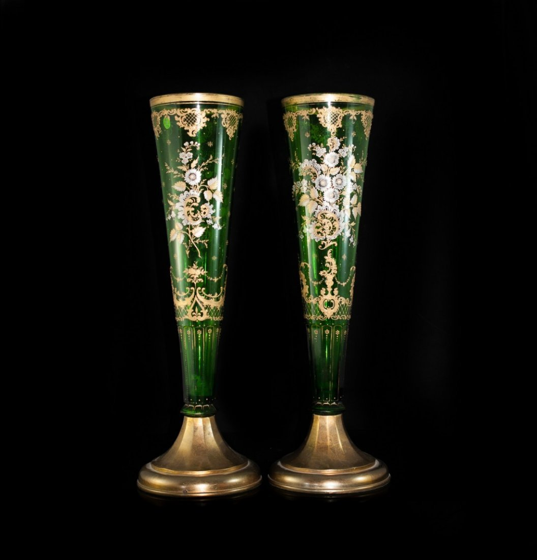Antique Bohemian Crystal Vases