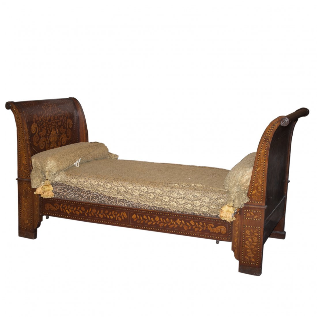 Antique Inlaid Wood Day Bed
