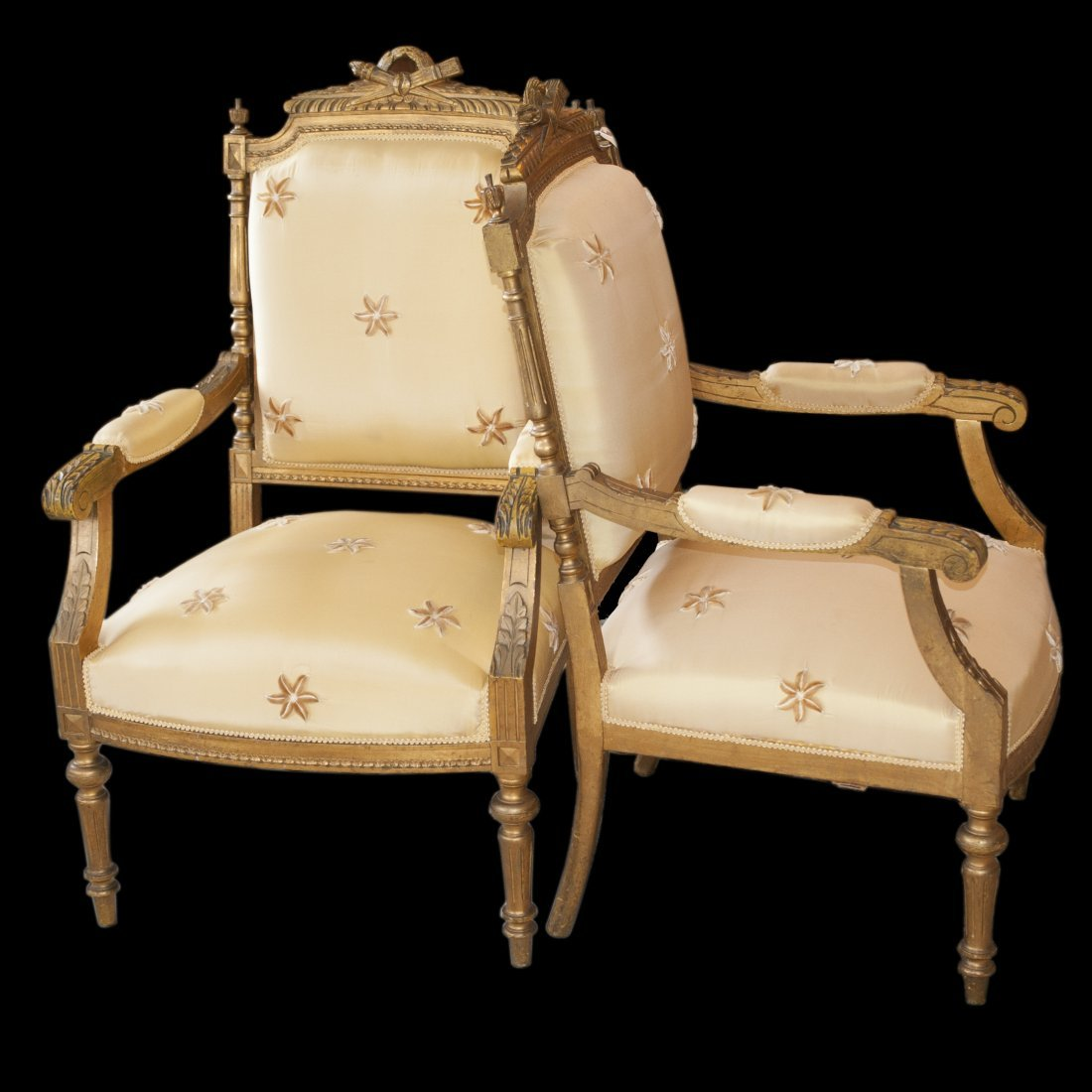 Pair of Gilt Wood Arm Chairs