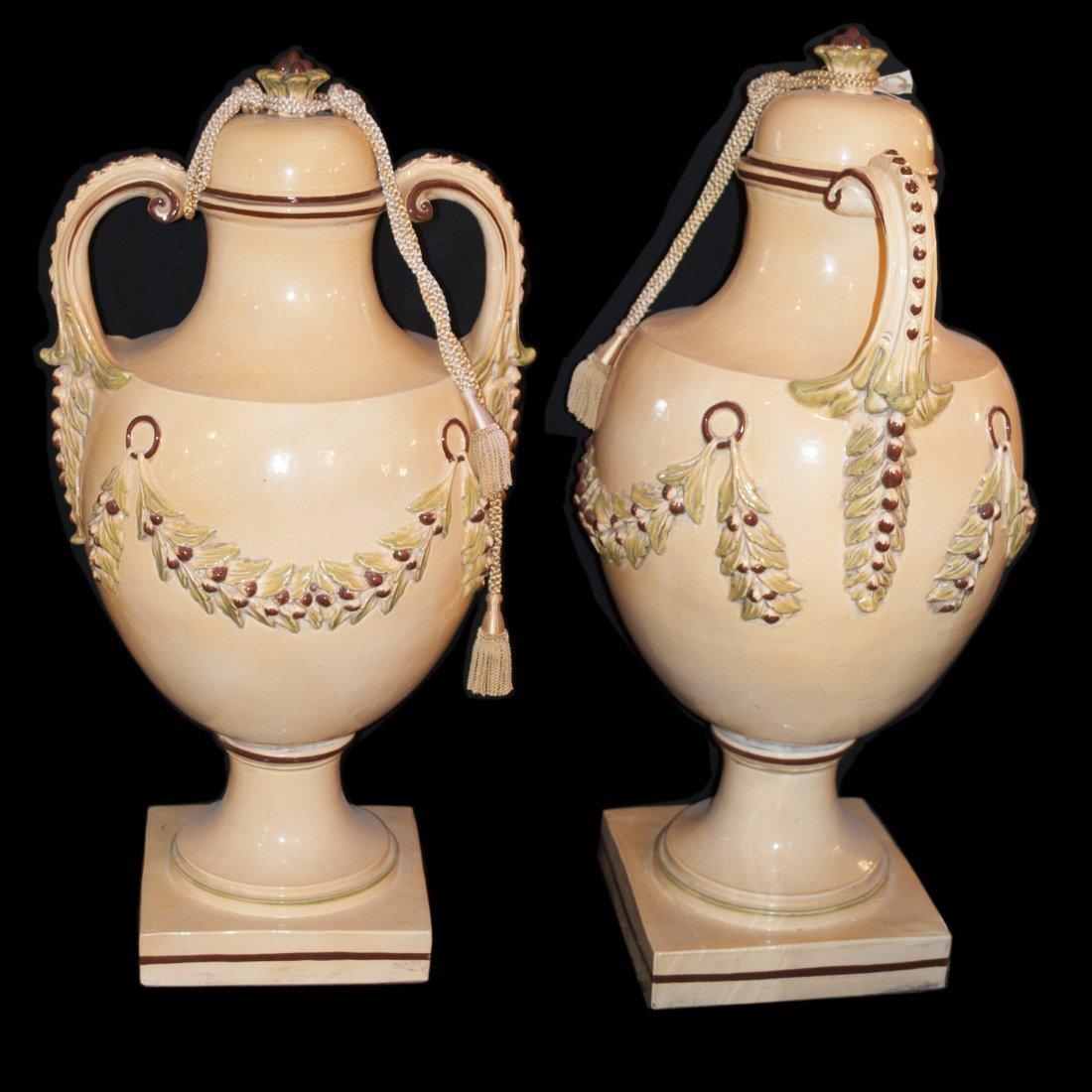 Large Majolica Ceramic Urns