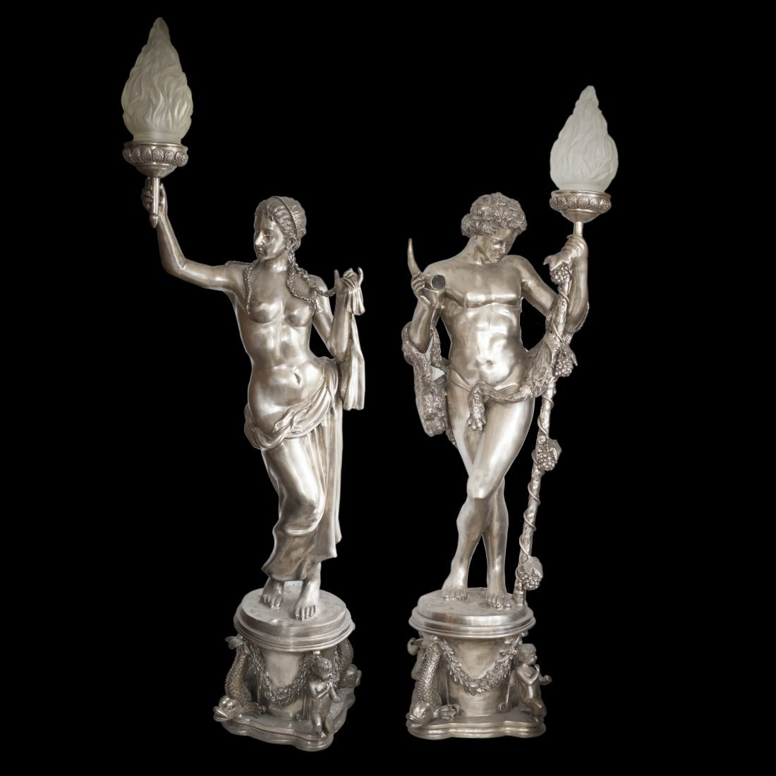 Palace Size Silver Bronze Figural Torchieres
