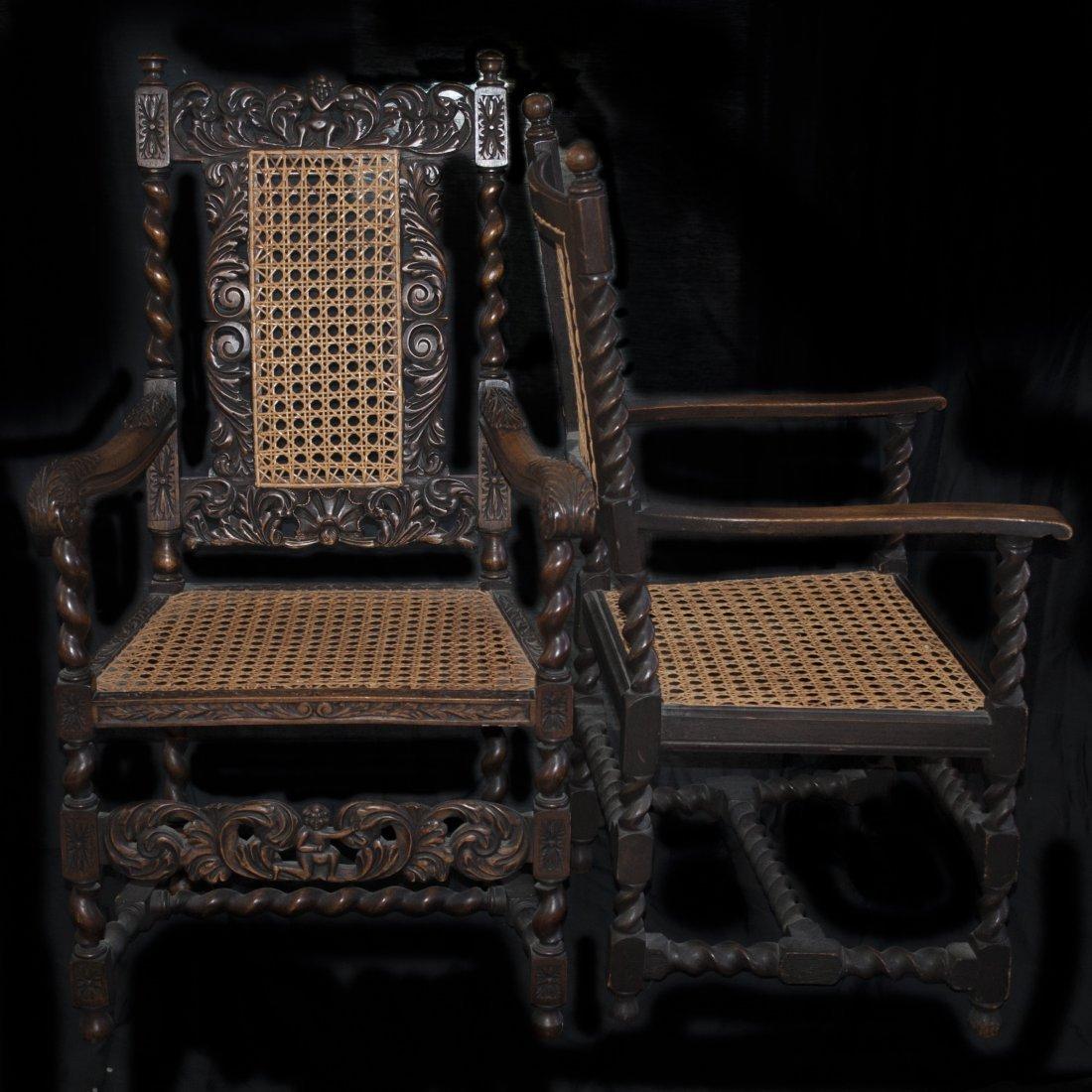 Pair of Wicker & Wood Armchairs
