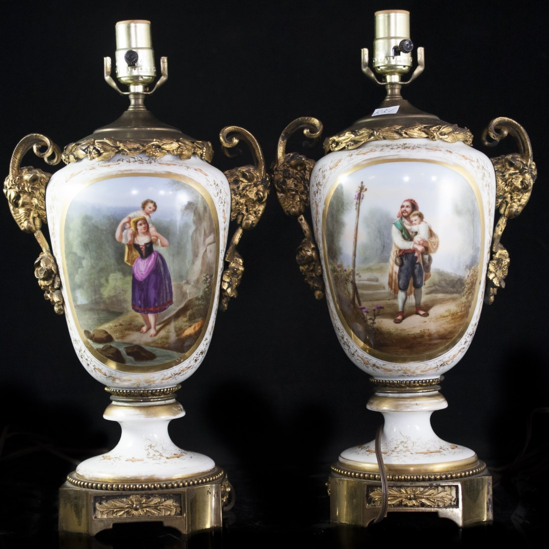 Old Paris & Dore Bronze Vase/Lamps