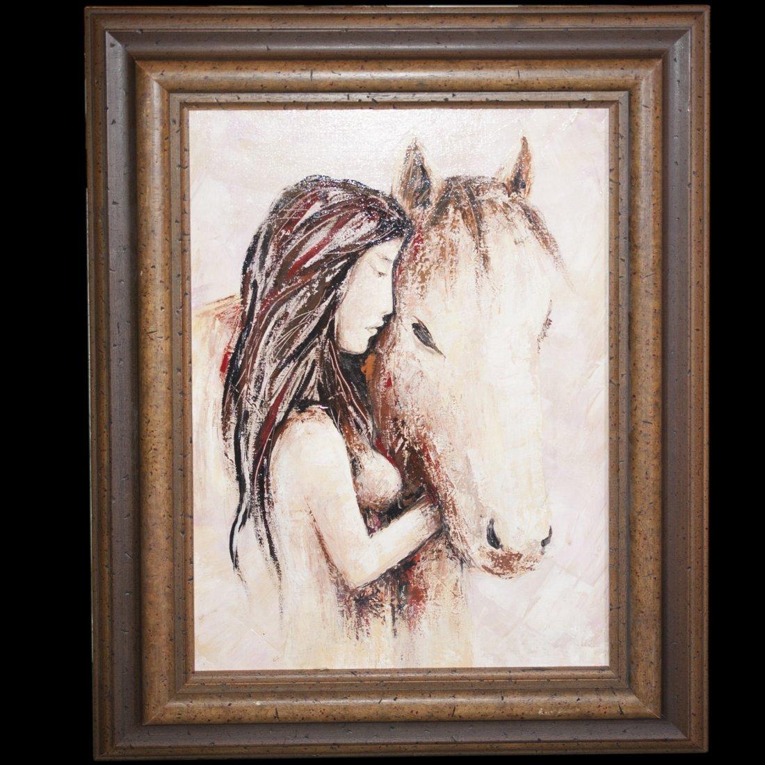 Woman & Horse Acrylic on Canvas