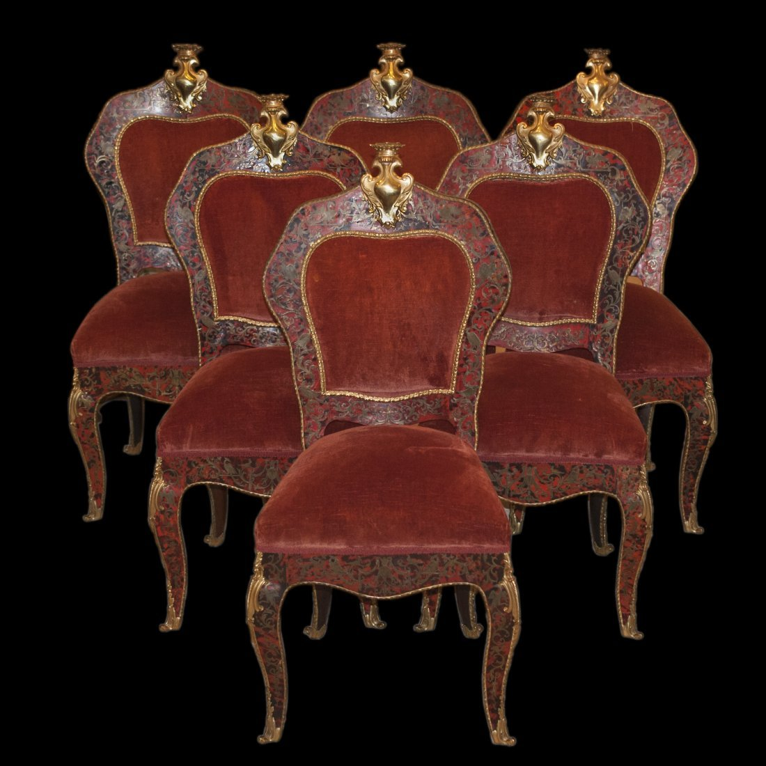 Set of Six Boulle Dining Chairs
