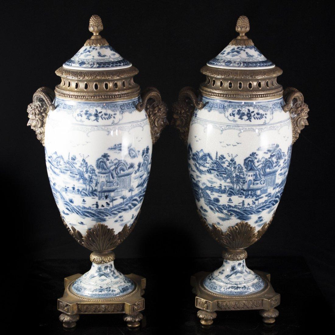 Pair of Porcelain & Bronze Urns