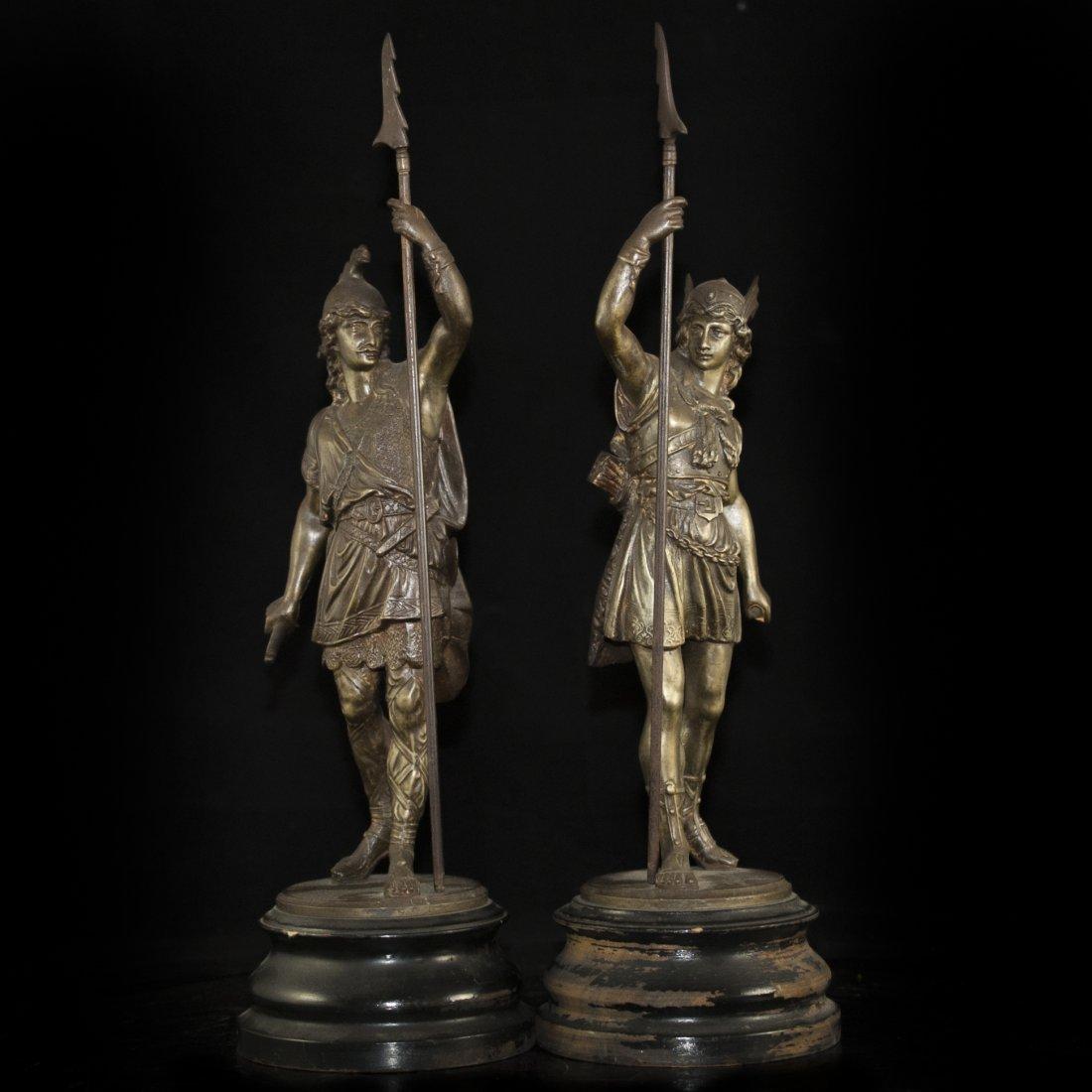 Pair of White Metal Greek God Figurines