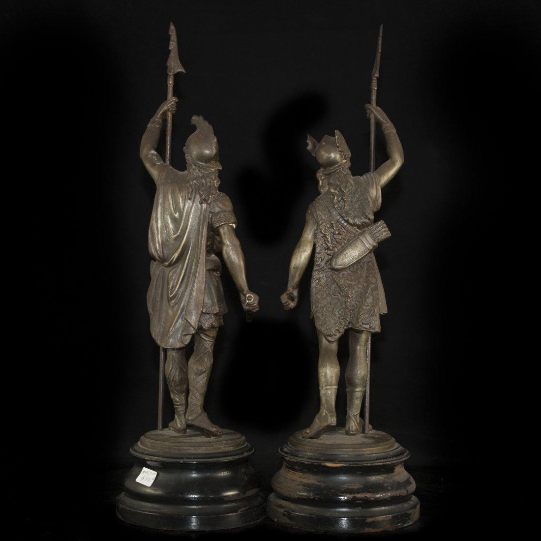 Pair of White Metal Greek God Figurines - 3