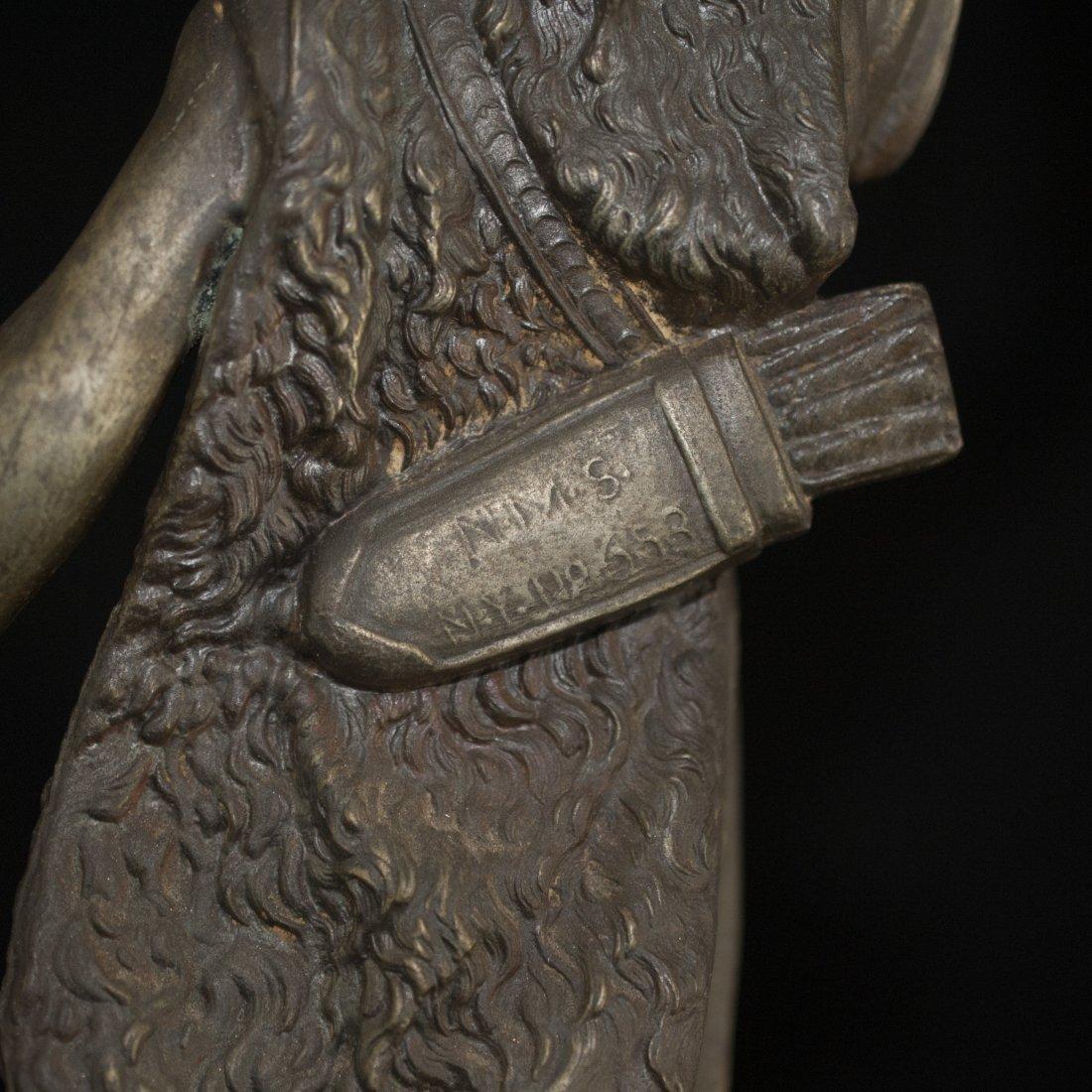 Pair of White Metal Greek God Figurines - 4