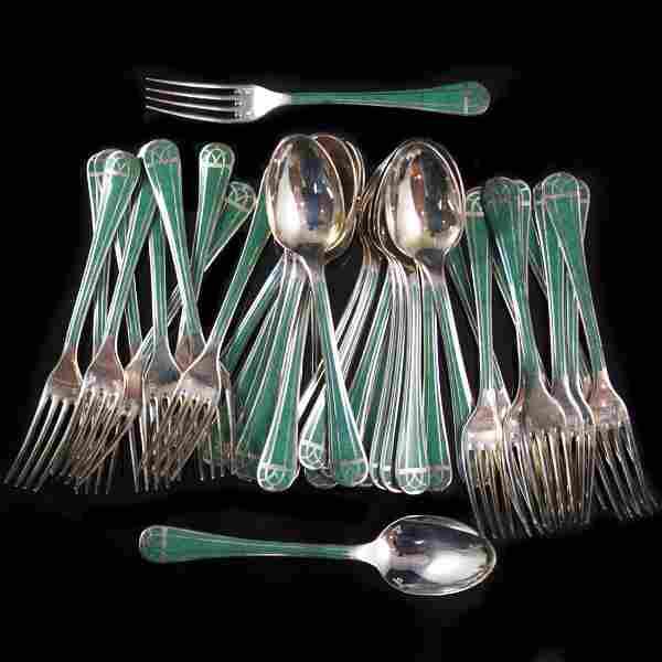 Christofle 38 Piece Silverplated Laque De Chine Set