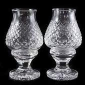 Pair of Waterford Crystal Hurricane Lamps