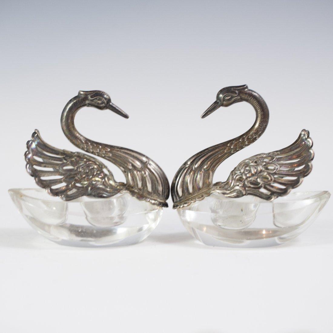 Sterling Silver & Crystal Swan Salt Cellars