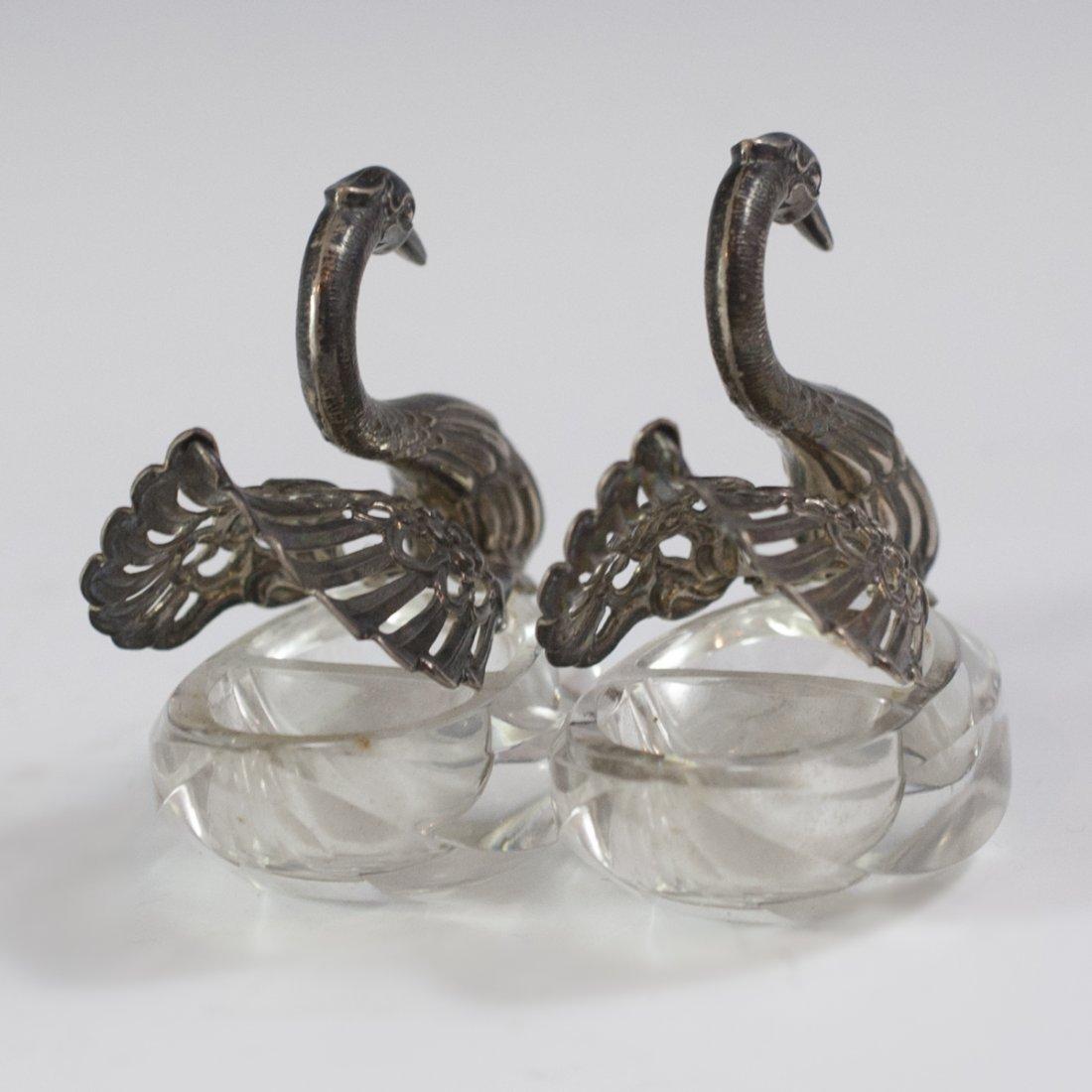 Sterling Silver & Crystal Swan Salt Cellars - 4