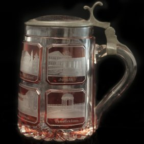 Etched Bohemian Glass Stein