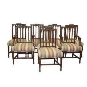 8 English Wood Dining Room Chairs