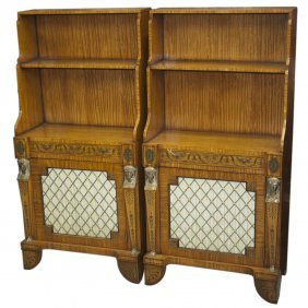 Pair Of Wood And Dore Bronze Bookcases