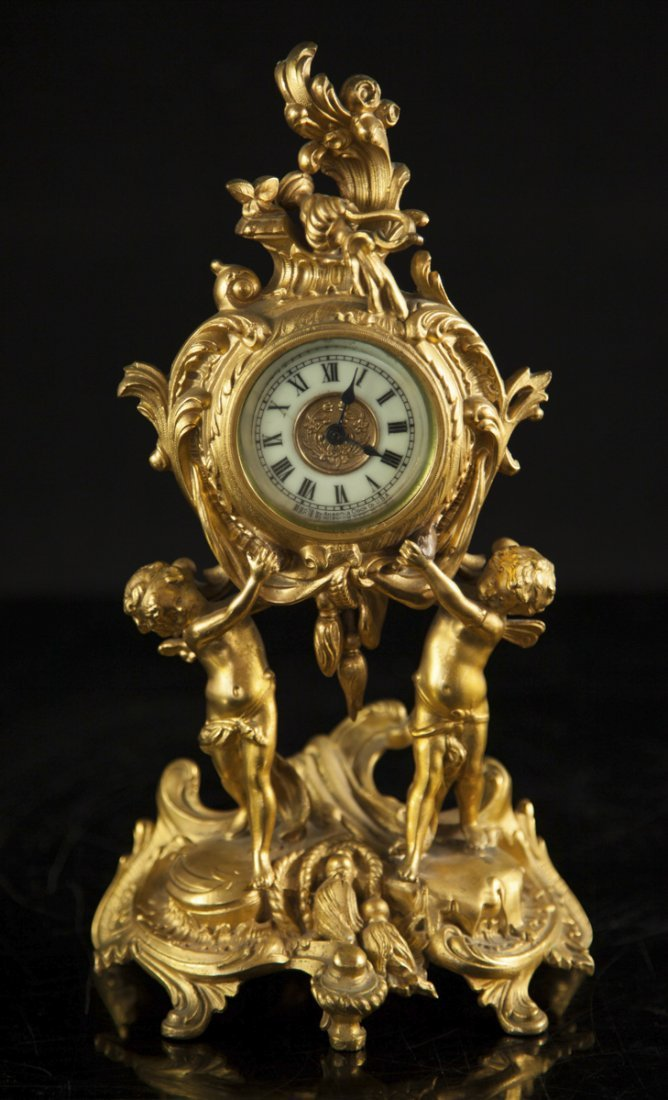 Antique Figural Dore Bronze Clock