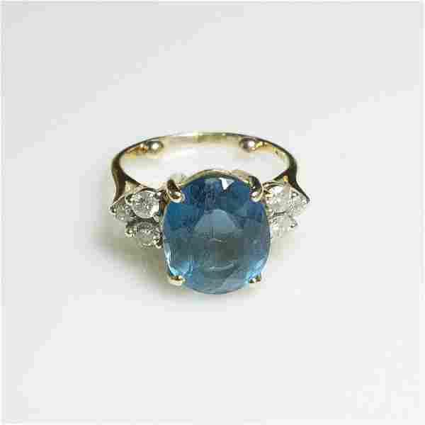 Sapphire & Diamond & Gold Ladies Ring