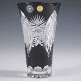Etched Bohemian Crystal Vase