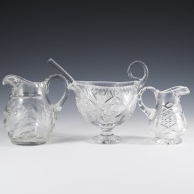 2 Crystal Water Pitchers With Small Punch Bowl