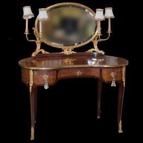 Wood & Bronze Vanity Desk