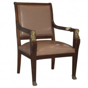 Imperial Style Wooden & Bronze Chair