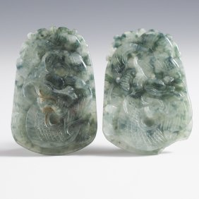 Two Carved Dragon Jade Pendants (1)