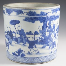 Blue And White Chinese Brushpot