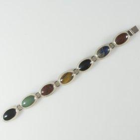 Mexican Sterling & Semi-precious Stone Bracelet(2.1)