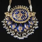 Gold & Diamond & Ruby Enameled Mughal Necklace