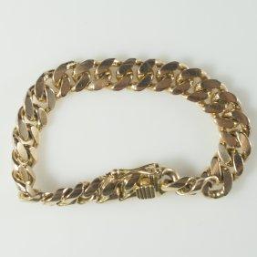 18kt Gold Cuban Link Men's Bracelet