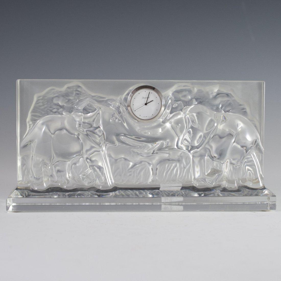 Baccarat Crystal Elephant Mantel Clock