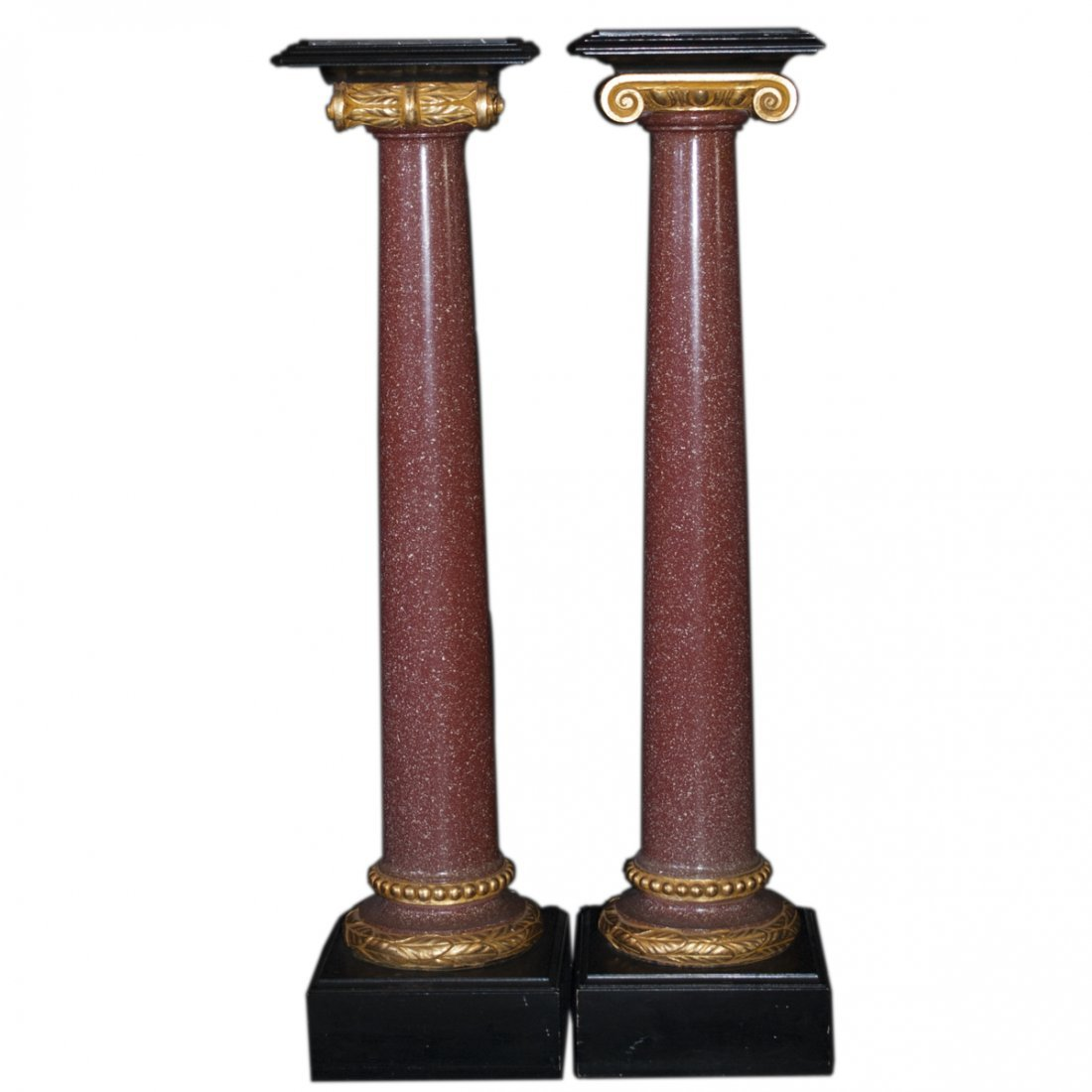 Marble Gilded Wood & Composite Pedestals