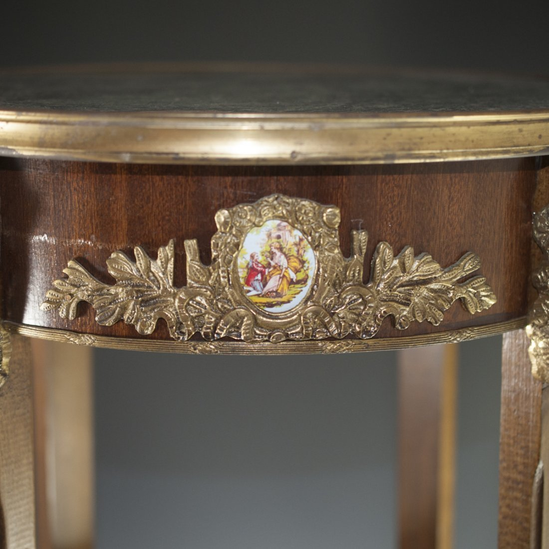 Wooden Marble Top & Dore Bronze Table - 2