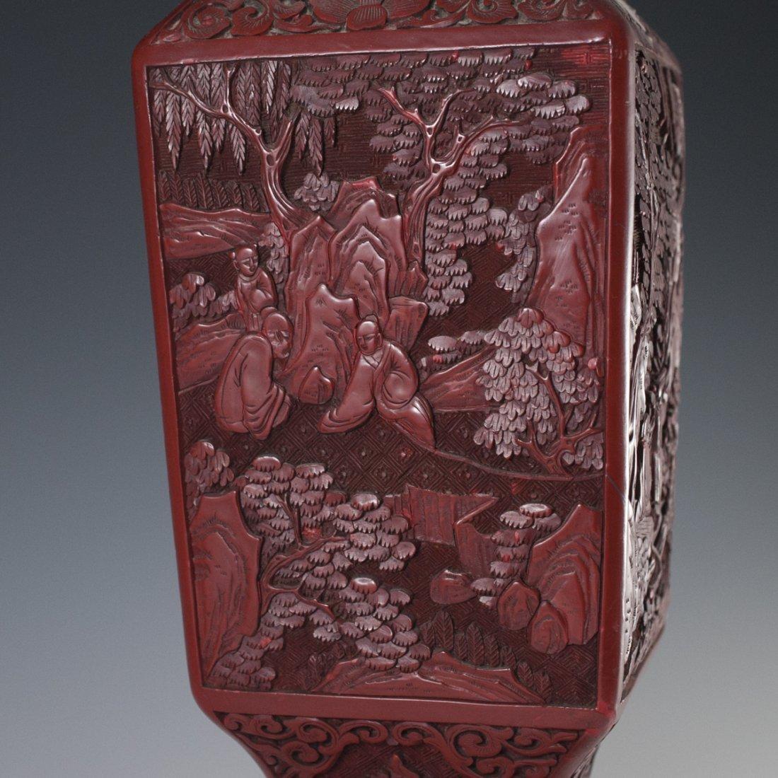 Carved Chinese Cinnabar Vase - 2