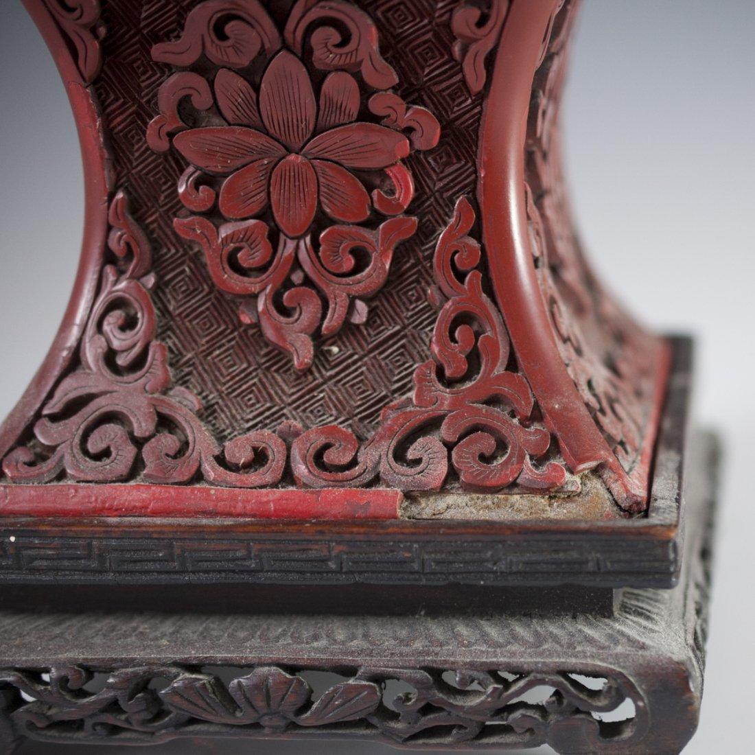 Carved Chinese Cinnabar Vase - 4