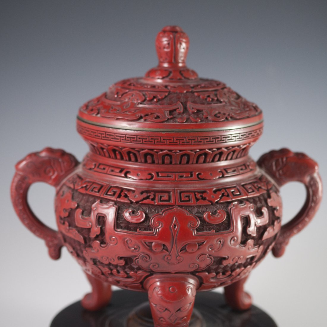 Carved Chinese Cinnabar Censer - 2