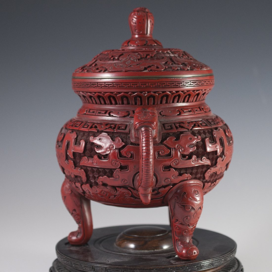 Carved Chinese Cinnabar Censer - 4