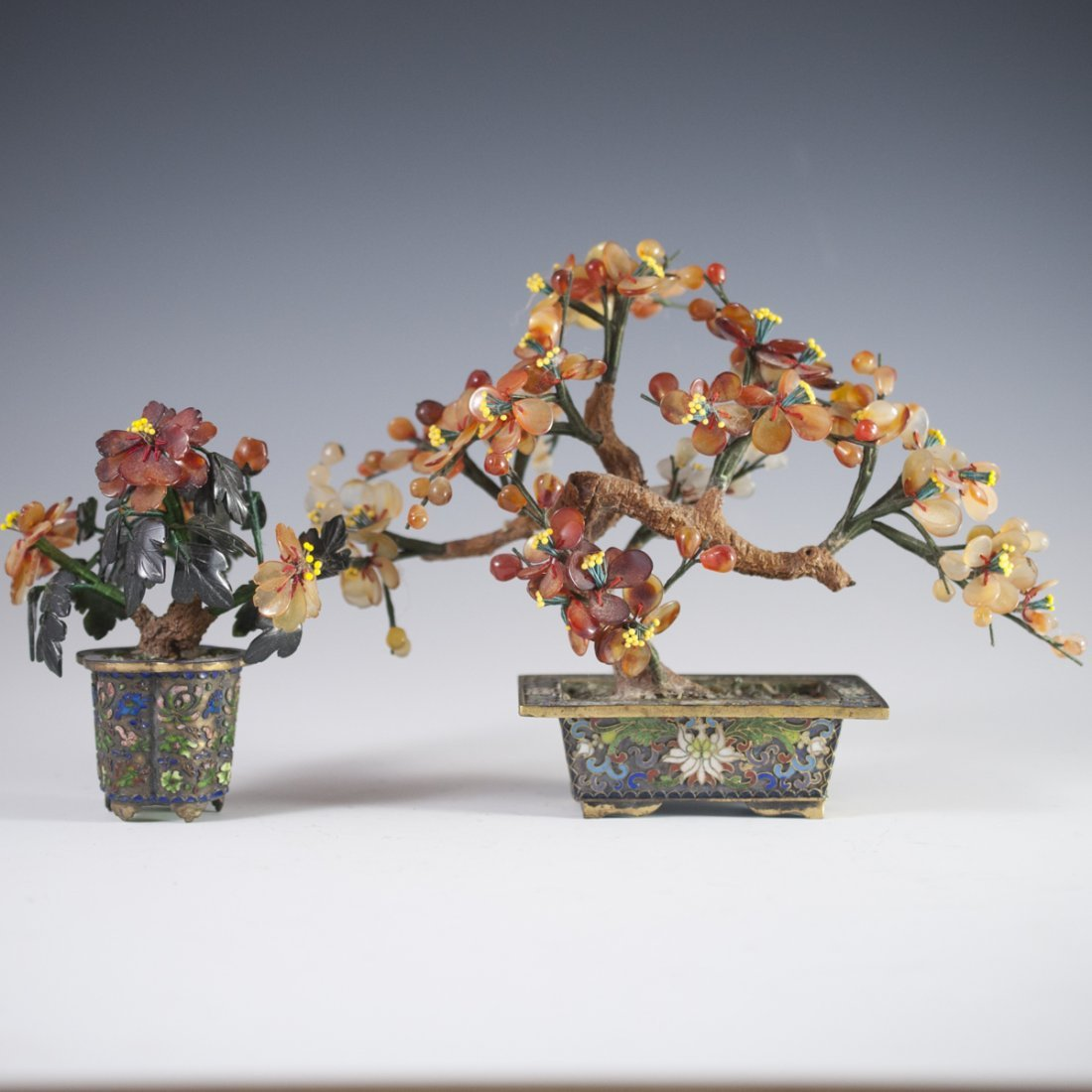 Chinese Enameled Cloissone Agate Bonsai Trees