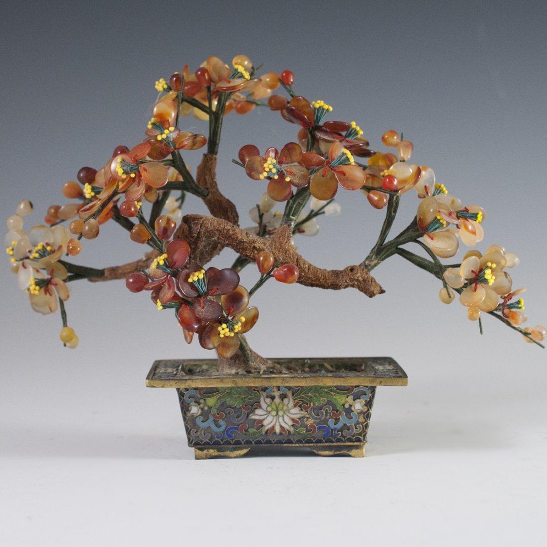 Chinese Enameled Cloissone Agate Bonsai Trees - 2