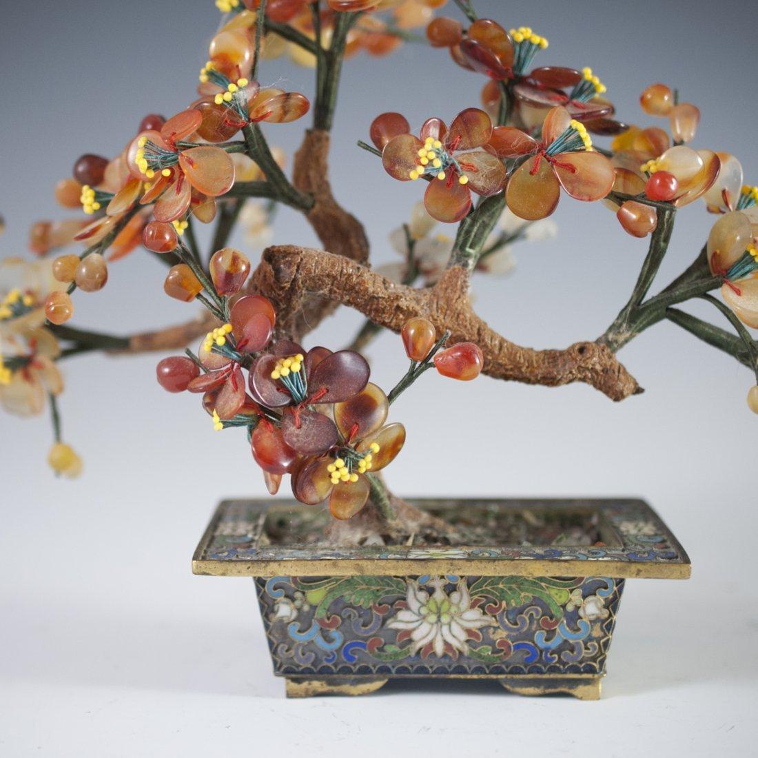 Chinese Enameled Cloissone Agate Bonsai Trees - 3
