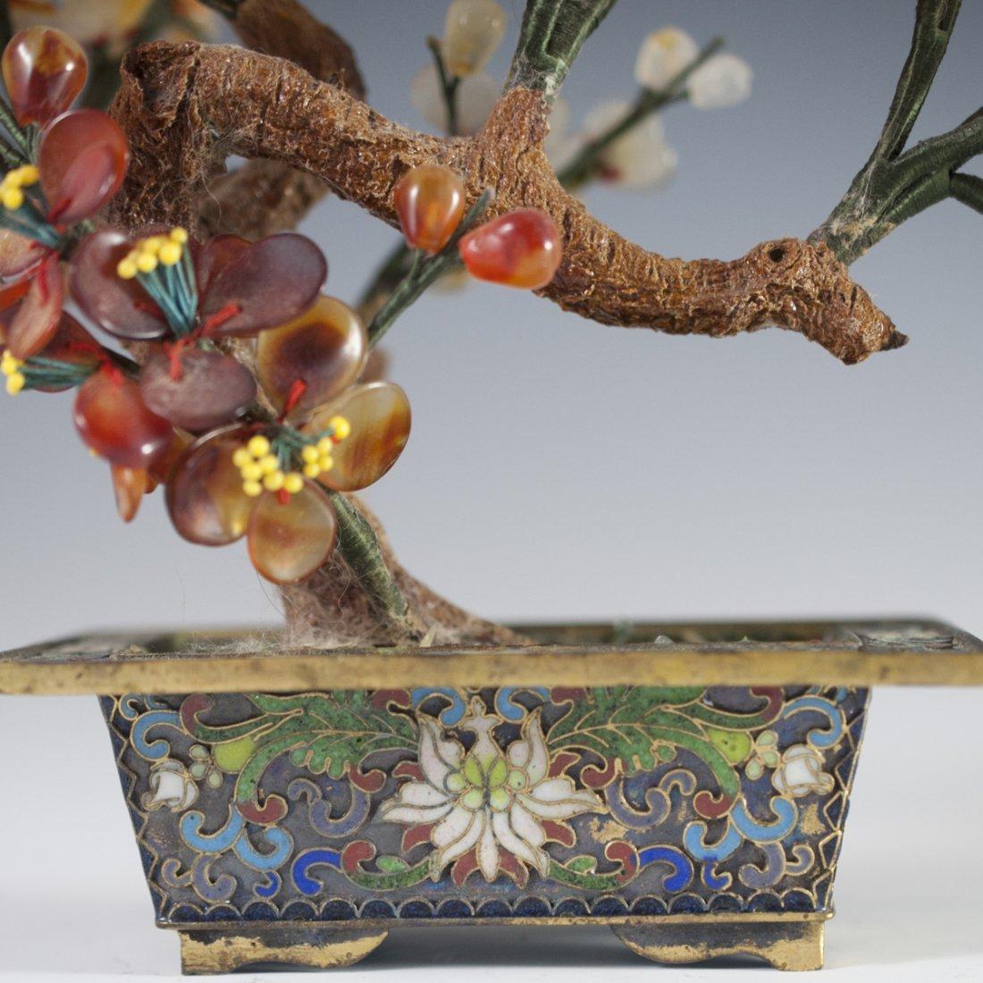 Chinese Enameled Cloissone Agate Bonsai Trees - 4
